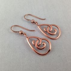 Copper Teardrop Earrings, Metal Earringsl Copper Jewelry