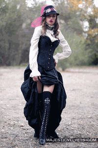 Steampunk Black Satin Corset with Bustle or Ruffled Skirt