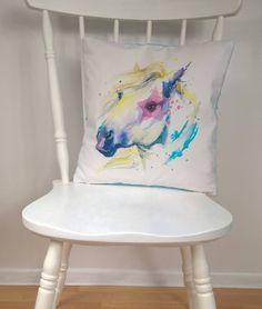 Horse Pillow Kids Animal Cushion Nursery Decor Equine Throw Gift Blue