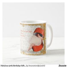 25% OFF TODAY!! Personalize this Fabulous Custom Fifties 50th Birthday Mug! Add the 50th birthday girls Name, birthday date and edit the greeting of you wish! You can add a funny 50th gag gift joke or leave it as is. The text can be edited re words, color and font. Image features a fun vintage illustration of a fifties pinup powderpuff girl. Perfect gift idea for a 50th birthday gift for her! She'll love it. #50thbirthdaygiftsher #funny50thbirthday #personalized50thbirthday www.leahg.me