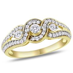 1/2 CT. T.W. Diamond Three Stone Waves Engagement Ring in 14K Gold
