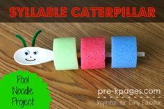 Adorable Syllable Caterpillar Activity for Kids - Put one chunk of noodle on for each syllable.  Say the word and point to the noodle chunk for each syllable to check your work.