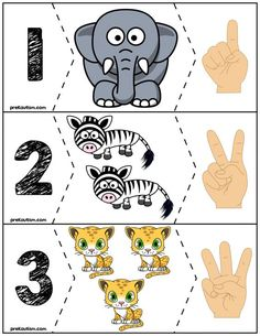 Teach counting skills with these awesome zoo animals. Great for teaching counting skills and number recognition for Quick prep and great for math centers! Preschool Jungle, Numbers Preschool, Preschool Math, Kindergarten Math, Maths, Autism Activities, Montessori Activities, Preschool Activities, Down Syndrom