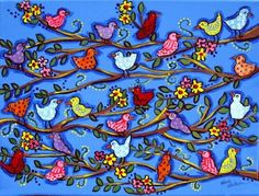 Items similar to Spring Birdies and Blossoms Fun Colorful Whimsical Folk Art Giclee Print on Etsy Spring Birds, Spring Art, Framed Wall Art, Wall Art Prints, Funny Paintings, Arte Popular, Art Plastique, Tree Art, Beautiful Birds