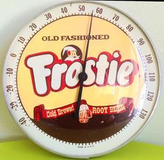 """Frostie Root Beer Thermometer (Vintage 1950 Soda Pop Advertising Thermometers, Elf Logo, """"Old Fashioned, Cold Brewed"""", Round Bubble Glass)"""