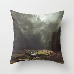 Foggy Forest Creek Throw Pillow by Kevin Russ - $20.00