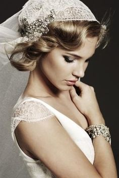 vintage bride, gorgeous glamorous lace and rhinestones  headpiece, Bridal Dress, inspiration for the vintage bride