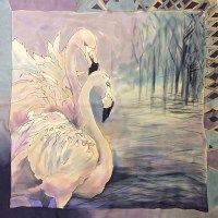 Шелковый платок батик Розовый фламинго С-60