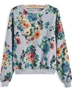 56944325b50 Grey Long Sleeve Vintage Floral Crop Sweatshirt pictures Floral Sweater