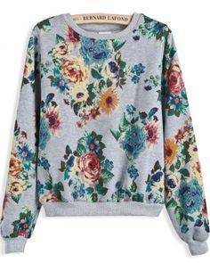 Grey Long Sleeve Vintage Floral Crop Sweatshirt pictures