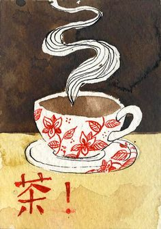 red and white teacup by Renee Nault via Flickr (i hope that character says something funny)