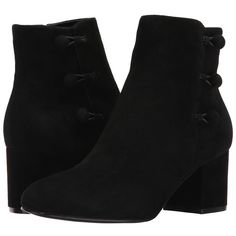 Ivanka Trump Parin (Black Savoy Suede) Women's Boots (€135) ❤ liked on Polyvore featuring shoes, boots, ankle boots, block heel bootie, suede boots, block heel ankle boots, black ankle boots and short boots