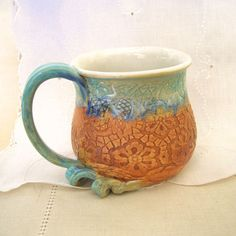 Handthrown, Stoneware Pottery Coffee Mug, Coffee Cup, Tea Cup,  16 oz, Turquoise, White, Burnt Orange, Large Handle by PorcelainJazz on Etsy