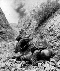 Wehrmacht soldiers delivering rations take cover from a Soviet artillery barrage - (Crimea 1941)