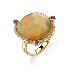 Gorgeous Ethiopian Opal with sapphires and diamonds