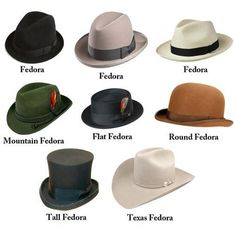 Hat styles according to the internet.