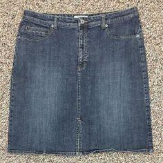 Women's Sz 3 (XL 16) Chicos Platinum Stretch Denim Jean Skirt-Front Slit -Nice!! #Chicos #ALine