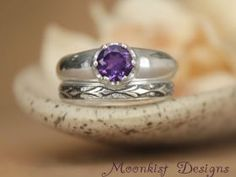 Bold Amethyst Wedding Ring Set with Fleur de Lis Fitted Band - Modern Solitaire and Floral Wedding Band in Sterling - Engagement Ring Set.  This makes a stunning combination! Repin this unique ring set to your own inspiration board!