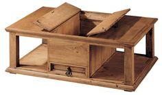 Espectacular mesa de centro rústica, encimera  con puertas, las cuales esconden una cavidad para guardar objetos en su interior, observa sus características técnicas en: http://rusticocolonial.es/mueble-rustico-y-mueble-mejicano-de-gran-calidad-al-mejor-precio/muebles-de-salon-rusticos-y-mejicanos-de-gran-calidad-al-mejor-precio/mesas-de-centro-rusticas-y-mejicanas-de-gran-calidad-al-mejor-precio