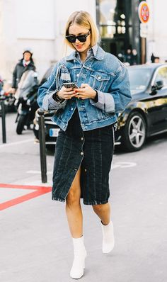 The always stylish Pernille Teisbaek gives us another way to wear denim on denim.