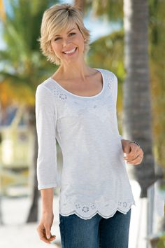 Embroidered Scalloped Hem Top | Chadwicks of Boston Summer 2014 Collection