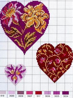 hearts cross stitch charts