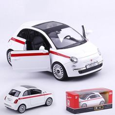 White 1/36 Fiat 500 Car Models Pull Back With Openable Doors Collections Gifts Toys Alloy and Plastic