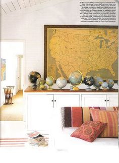 Inexpensive Map Wall Art - Decorating With Maps - ELLE DECOR (Want to create the look in your own home? Get inspired by our photo gallery of map designs or shop some of ELLE DECOR's favorite sources below. Vintage Map Decor, Vintage Maps, Vintage Vignettes, Vintage Ideas, Design Blog, The Design Files, Design Ideas, Map Wall Art, Bedroom Decor