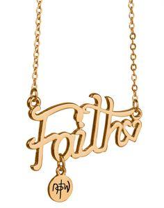 Faith Script Necklace - Gold Plated - Christian Necklace for $12.99 | notw.com