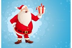 Merry Santa Claus holds Christmas gift in box by LoopAll on Creative Market