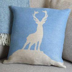 ' Highland Stag ' Sky  Linen Cushion