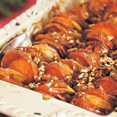 Roasted Apples and Sweet Potatoes in Honey-Bourbon Glaze Recipe Doesn't get yummier than this!