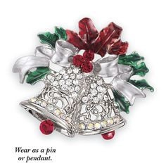 Enameled Silverplate and Crystal Bells Pin-Pendant - Fashion Jewelry, Sterling, Gemstones, Pearls, Earrings, Necklaces, Rings & Bracelets