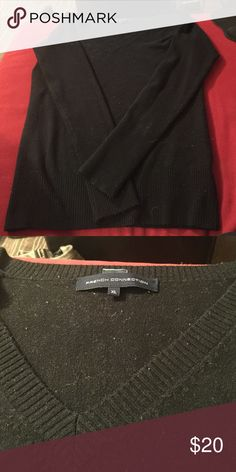 French Connection Black V Neck Sweater Great condition but some minimal pilling that would probably come off with a lint roller. It fits small for an XL IMO. More like juniors sizing I suppose. French Connection Sweaters V-Necks