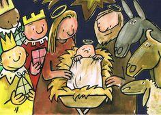De stal in Bethlehem. Postkaart van Frank Wowra. Frank Wowra  is geboren in 1965 in Bückeburg, woonachtig in Berlijn sinds 1969. Daar studeerde hij aan de Academie van Beeldende Kunsten sinds 1997 en is een freelance illustrator. Van zijn hand verschenen veel kinderboeken die door  hem zijn geïllustreerd.   Voor zijn werk ontving hij verschillen de onderscheidingen