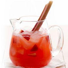 Juicy strawberries and summer fresh rhubarb make this Lemonade sweeter with every sip! More strawberry drinks: http://www.bhg.com/recipes/drinks/fruit/strawberry-studded-drinks/?socsrc=bhgpin070913rhubarblemonade=14
