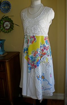 Come On Out and Make Romance Sundress Upcycled Vintage Crochet Lace Embroidery  OOAK  Sz Medium
