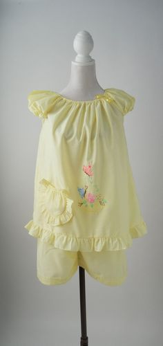 Vintage 1970s Yellow Cotton Baby Doll Set with Butterflies, Medium