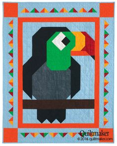 Playful Patch quilt pattern: A friendly toucan has joined the family of Quiltmaker Patch Pals! This easy kid's quilt is sure to please your favorite little person.