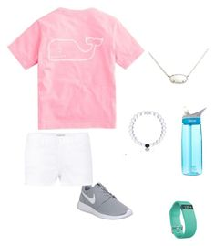 """""""Day 1-Last day of camp"""" by hquate ❤ liked on Polyvore featuring Vineyard Vines, Kendra Scott, NIKE, Frame Denim, CamelBak, Fitbit and fortheloveofAmerica"""