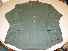Mens Brooks Brothers L linen green long sleeve button shirt Men's adult EUC @ #BrooksBrothersSport #ButtonFront