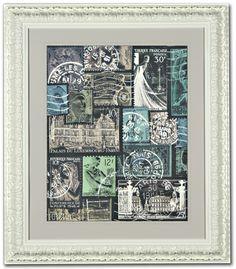 Postage Stamp Collage Art - Paris Theme