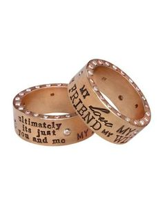 Heather Moore ring: Gold 8mm Ring Graffiti Quote. The ring that eric gives jessie on the show! so sweet