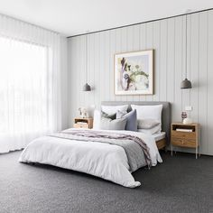 Stylish Bedroom, Modern Bedroom, Master Bedroom Design, Home Decor Bedroom, Grey Carpet Bedroom, Feature Wall Bedroom, D House, Living Room Remodel, Bed Styling