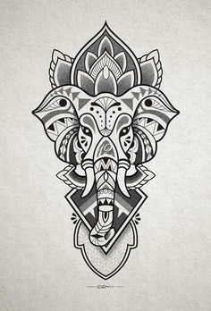 Tattoo designs that you want to put everywhere on you - Tattoos Models Elephant Head Drawing, Elephant Head Tattoo, Elephant Tattoo Design, Mandala Tattoo Design, Tribal Tattoo Designs, Buddha Tattoo Design, Mandala Drawing, Ganesh Tattoo, Stencils Tatuagem
