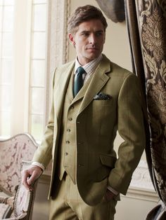 Inverness Tweed Suit - Green Check Pure New Wool Tweed Suit Scottish Fabric Green Check