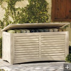All-weather Outdoor Storage Box--idea for terrace cushions and possible additional seating/usable surface area