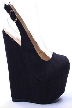 BLACK FAUX SUEDE ROUND TOE SLINGBACK PLATFORM WEDGE,$19.99 #wedgeheels #wedgepumps #wedges #pumps #leopardprintsgoes #heelsfashion #fashionstyle #shoes #heelshoes #highheelshoes #highheels #sexyheels #sexygirls #sexywomen #welovefashion