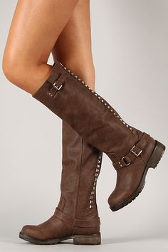 Breckelle Trooper-14 Studded Buckle Riding Knee High Boot