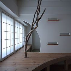 Nano Architects remodels 1960s apartment in Japan with curved and letterbox-shaped openings